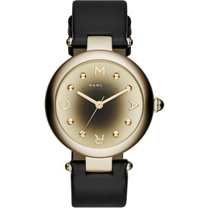 Marc Jacobs Montres, Dotty Stainless Steel Leather Black/Gold en or, noir