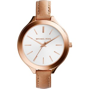 Michael Kors Montres, Slim Runway Leather And Rose-Tone Watch en beige
