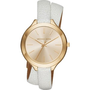 Michael Kors Montres, Slim Runway Silver-Tone and Leather Wrap Watch White en or