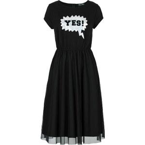 Sweatkleid mit Tüll Marcell von Berlin for bonprix/Sommerkleid kurzer Arm in schwarz von bonprix