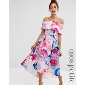 ASOS PETITE - Robe longue à encolure Bardot au dos avec imprimé fleuri et épaules dénudées - Multi