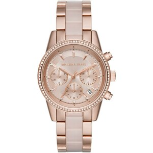 Michael Kors Armbanduhr - Ritz Pavé Rose Gold-Tone And Rose Acetate Watch - in rosa - Armbanduhr für Damen