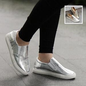 Lesara Chaussures slip-on aspect métallique
