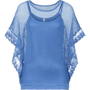 RAINBOW Shirt, 2 in 1 kurzer Arm in blau für Damen von bonprix