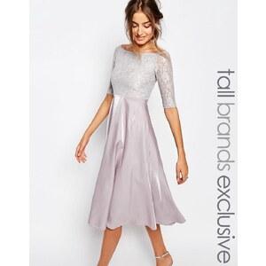 True Decadence Tall - Mittellanges Ballkleid im Bardot-Stil mit Spitze - Grau