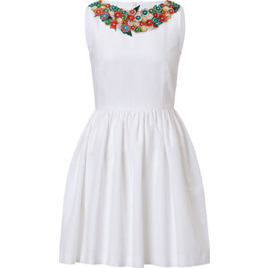RED Valentino Cotton-Linen Embellished Collar Dress