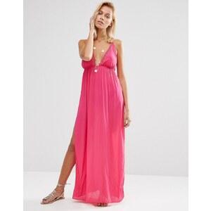 ASOS - Maxi-Strandkleid mit Gitterbesatz und V-Ausschnitt - Rosa