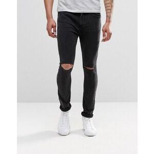 Pull&Bear - Jean super skinny avec déchirures aux genoux - Noir délavé - Noir