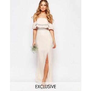 TFNC WEDDING - Maxi robe bandeau à ornements - Rose
