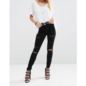 ASOS - Ridley - Jean skinny taille haute à déchirures - Noir - Noir