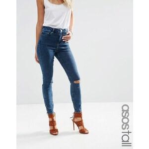 ASOS TALL - Ridley - Jean skinny taille haute avec déchirures aux genoux à délavage foncé effet tacheté - Bleu