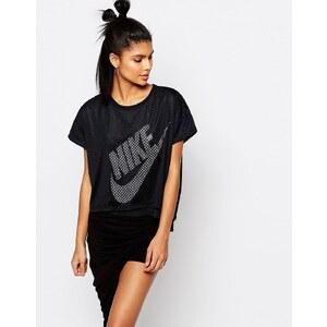 Nike - T-shirt droit avec superposition en tulle de qualité supérieure - Noir