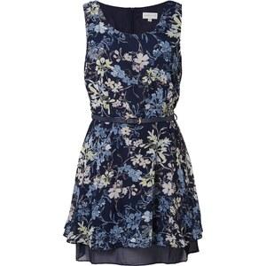 Apricot Kleid mit floralem Allover-Muster und Taillengürtel