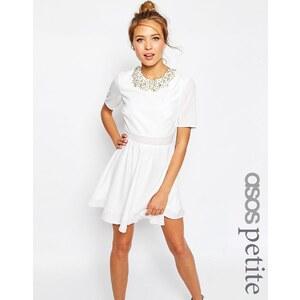 ASOS PETITE - Minikleid mit verziertem kurzem Oberteil - Weiß