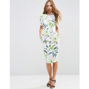 ASOS - Robe fourreau texturée à imprimé fleurs style aquarelle - Multi