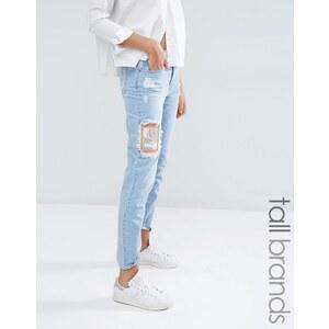 Waven Tall - Aki - Boyfriend-Jeans mit Rissen und Aufnäher - Blau