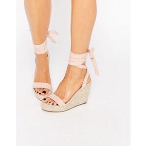 ASOS - TALENT - Sandalen mit Keilabsatz und Ballerinaschnürung - Apricot