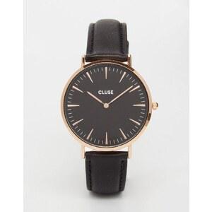 Cluse - La Boheme CL18001 - Montre en cuir - Or rose et noir - Noir