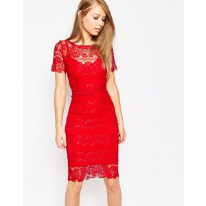 Body Frock - Lisa - Robe gainante en dentelle - Rouge
