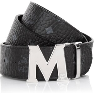 MCM Kleinleder - Visetos Round Silver M Buckel Belt 110 Black - in schwarz aus Gürtel-Kunstleder - Kleinleder für Damen