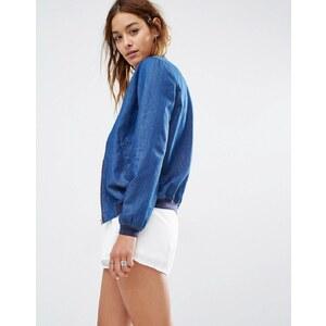 Missguided - Bomber en jean - Bleu