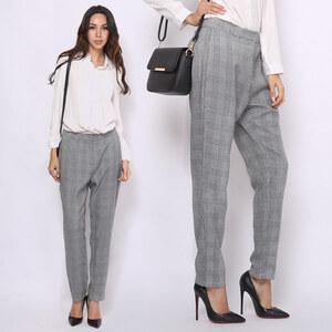 Lesara Pantalon en textile motif pied-de-poule