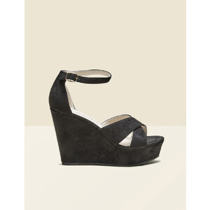 sandales suédine compensées noires Jennyfer