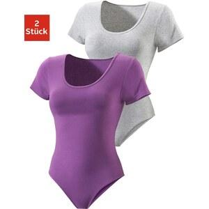 Große Größen: Vivance Active T-Shirt-Body (2 Stück), grau meliert+lila, Gr.32/34-48/50