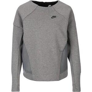 Große Größen: Nike Sportswear Tech Fleece Mesh Crew Sweatshirt Damen, grau / schwarz, Gr.M - 40/42-L - 44/46