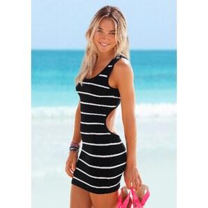 Große Größen: Venice Beach Strandkleid mit Rückenausschnitt, schwarz-weiß, Gr.34-42
