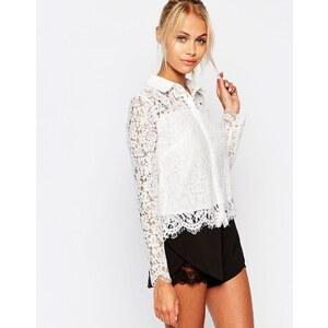 Fashion Union - Chemise courte avec dentelle florale - Blanc