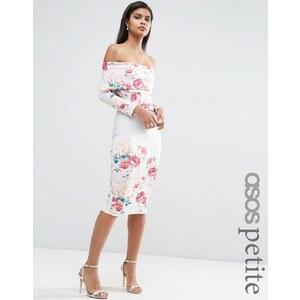 ASOS PETITE - Schulterfreies Kleid mit platziertem Blumenmuster - Mehrfarbig