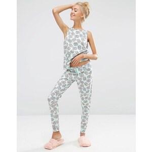 ASOS - Schlafanzug aus Trägershirt und Leggings mit Brezel-Print - Mehrfarbig