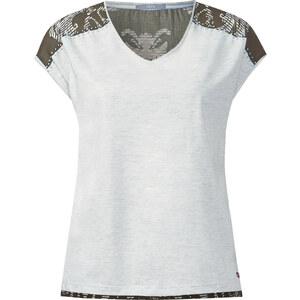 Cecil - T-shirt col V imprimé au dos - off blanc melange