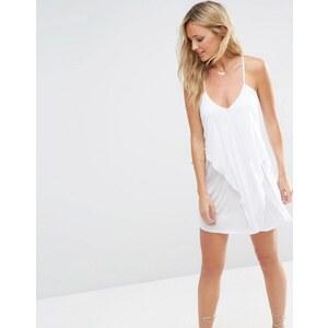 ASOS - Drapiertes Strandkleid aus Jersey im Lagenlook - Weiß