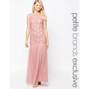 John Zack Petite - Maxi robe avec corsage à fleurs effet 3D et jupe en tulle - Rose