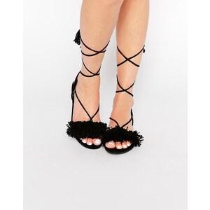 Missguided - Sandales plates à franges - Noir