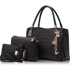 Lesara 3-teiliges Handtaschen-Set mit Anhängern - Schwarz