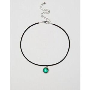 ASOS - Collier court avec cordon et pendentif en pierre de lune - Noir