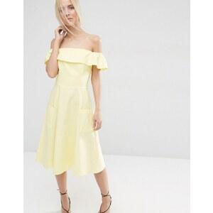 ASOS - Schulterfreies Sommerkleid aus Naturfasern - Gelb