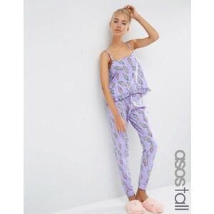 ASOS TALL - Glitzer-Schlafanzug mit Eiscreme-Motiv, Camisole & Leggings - Grau