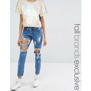 Liquor & Poker Tall - Skinny-Jeans mit extrem zerrissener Kniepartie - Blau