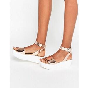ASOS - TALIA - Sandalen mit Keilabsatz - Gold