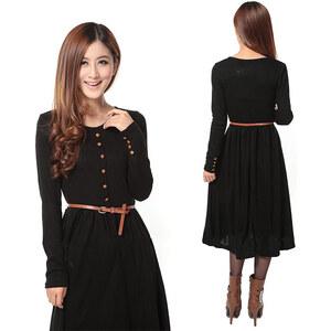 Lesara Kleid mit Gürtel und Knöpfen - Schwarz - L
