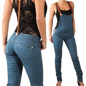 Lesara Jeans-Latzhose mit Hosenträgern - Hellblau - 42