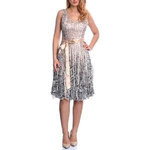 Lesara Cocktailkleid mit Blüten-Muster - Beige - 32-34