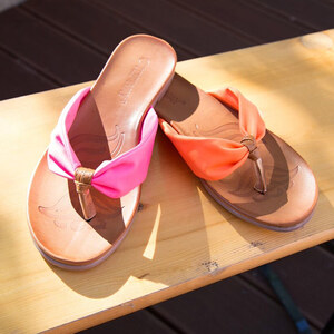 Lesara Zehentrenner-Sandale mit breitem Band - Orange - 38