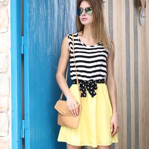 Lesara 2-in-1-Kleid mit Zierschleife - Gelb - S