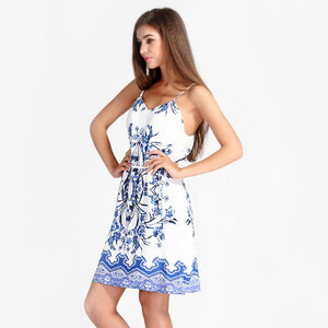 Lesara Spaghettiträger-Kleid mit blauem Muster - Weiß - M