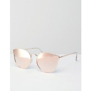 Quay Australia - All My Love - Roségoldene Cateye-Sonnenbrille aus Metall mit flachen, verspiegelten Gläsern - Gold